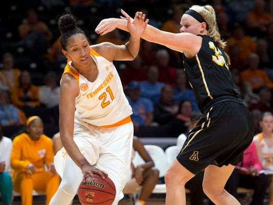 Tennessee's Mercedes Russell tries to get around Appalachian State's Ashley Bassett-Smith on Wednesday at Thompson-Boling Arena.