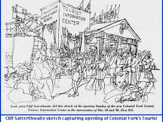 Cliff Satterthwaite sketch capturing opening of York County's Tourist Information Center at intersection of Route 30 and Mt. Zion Road (York Daily Record, April 19, 1973)