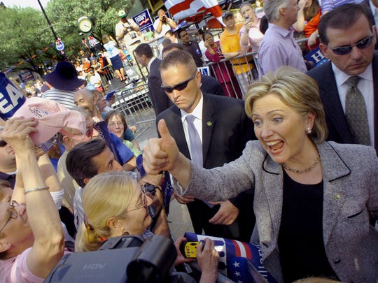 After her speech in York in 2008, Sen. Hillary Clinton shook hands and greeted people who turned out to see her.