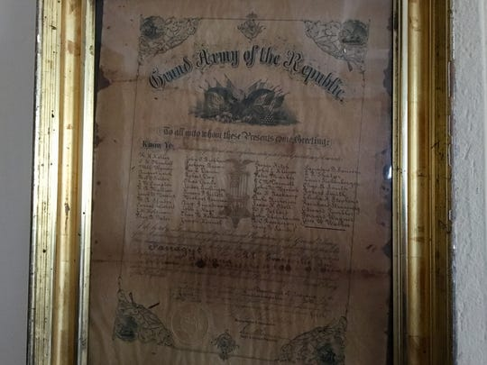 A framed membership list for the Grand Army of the Republic dated June 30, 1881.