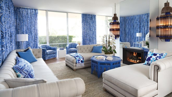 Shades of blue create a tranquil atmosphere with this neutral base.
