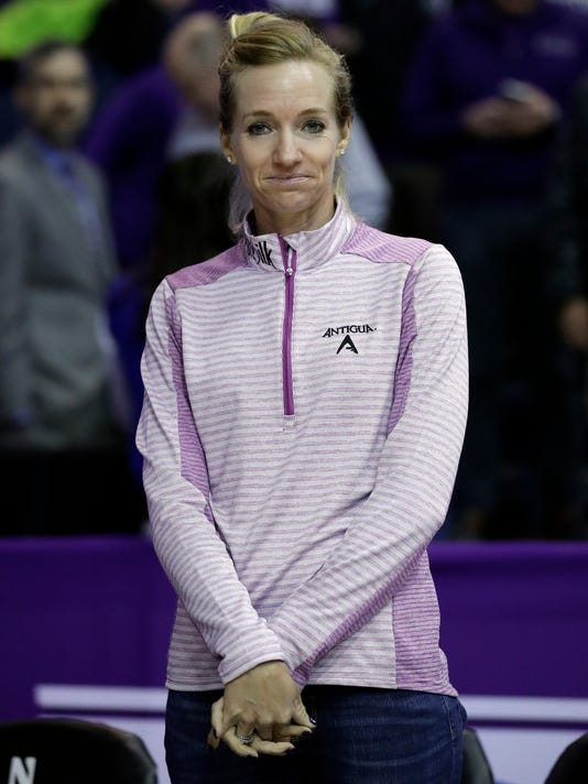LPGA tour player Kris Tamulis attends the half-time event during an NCAA college basketball game between Wisconsin and Northwestern, Thursday, Feb. 22, 2018, in Rosemont, Ill. (AP Photo/Nam Y. Huh)