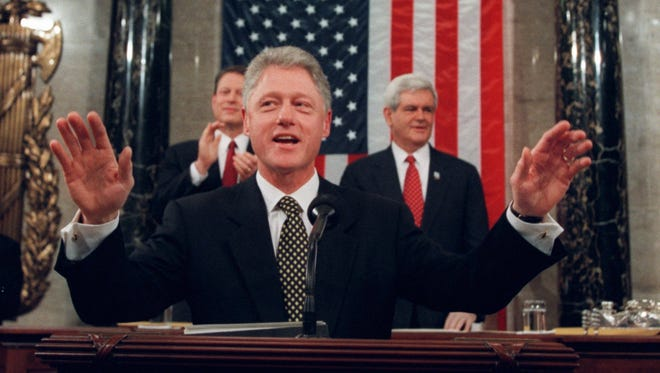 President Clinton acknowledges applause at his 1998 State of the Union Address.