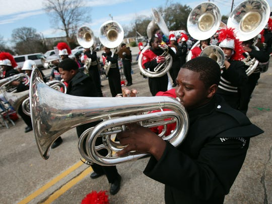 The Northside High School marching band performs as