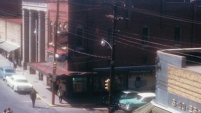 """The Fishburne Drug Store """"corner"""" in 1959."""