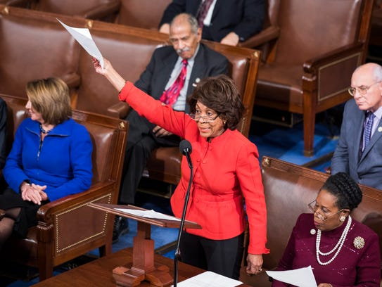 Rep. Maxine Waters, D-Calif., asks whether any senator