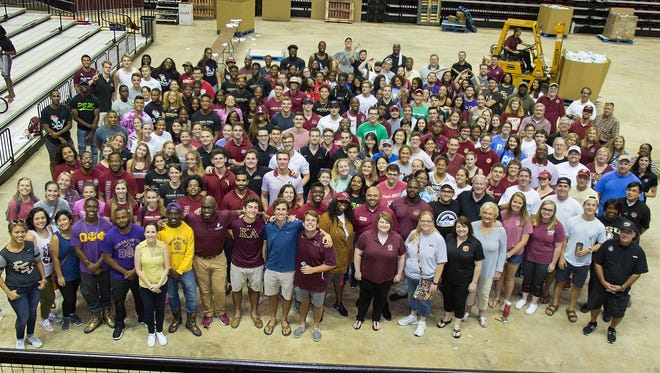 More than 250 FSU students and 100 staff volunteers assembled care packages for Hurricane Irma victims Friday, Sept. 15, at the Donald L. Tucker Civic Center.