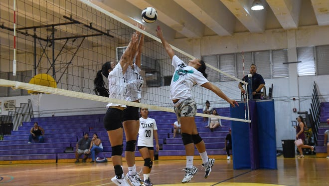 The Tiyan High School Lady Titans took on the George Washington Geckos during the 17th annual Shieh Invitational Volleyball Tournament at the George Washington High School gym in Mangilao on Aug. 13.