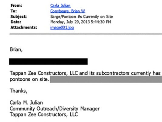 Tappan Zee barge crash emails.