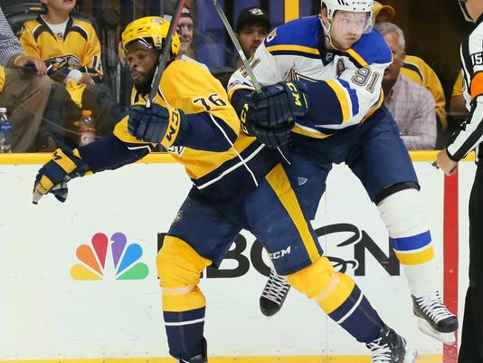 St. Louis Blues right wing Vladimir Tarasenko, right, collides with Nashville Predators defenseman P. K. Subban in the first period in Game 4 of a second-round NHL hockey playoff series, Tuesday, May 2, 2017, in Nashville, Tenn. (Chris Lee/St. Louis Post-Dispatch via AP)