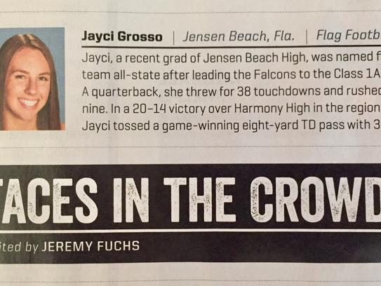 Jensen Beach High School grad Jayci Grosso was featured