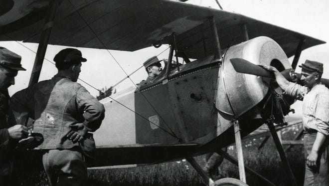 Kiffin Rockwell prepares to take to the skies of France in his fighter plane. A former Asheville resident, Rockwell, 24, was killed during a dogfight on Sept. 23, 1916.