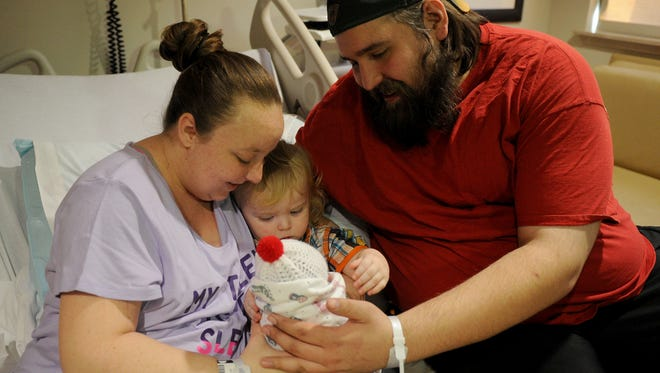 Tresa and Kevin Burns are the parents of Wichita Falls 2017 New Year's baby Anthony who was born at 5:35 a.m. Sunday, Jan. 1, 2017, at United Regional. The Burns oldest son Matthew, 17 months, was excited to meet his new brother.