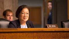 Sen. Mazie Hirono, D-Hawaii, makes a statement to Sloan