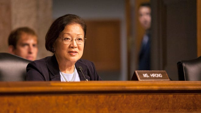 07/16/2014 9:38:46 AM -- Washington, DC, U.S.A  -- Sen. Mazie Hirono, D-Hawaii, makes a statement to Sloan Gibson, acting secretary of Veterans Affairs, during a Senate Committee on Veterans' Affairs on July 16, 2014. Gibson appeared before the committee to discuss the current state of Veterans Administration healthcare. --    Photo by Jeff Franko, USA TODAY ORG XMIT:  JF 131393 VA Health Care 7/16/2 [Via MerlinFTP Drop]