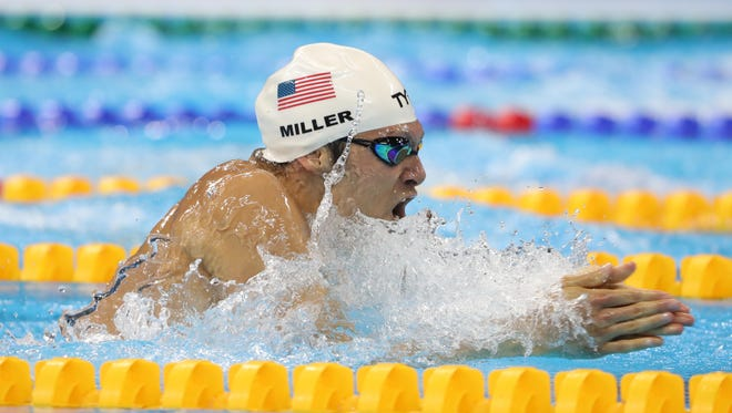 Aug 6, 2016; Rio de Janeiro, Brazil; Cody Miller (USA) in the men's 100m breaststroke heats during the Rio 2016 Summer Olympic Games at Olympic Aquatics Stadium.