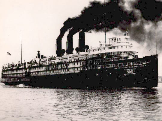 The bow anchor of Greater Detroit, a historic steamship,