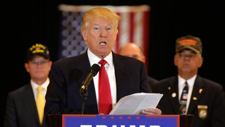 Donald Trump speaks at a conference in New York on