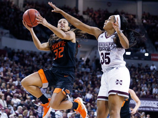 Oklahoma State guard Loryn Goodwin (32) attempts a layup while Mississippi State guard Victoria Vivians (35) defends during the second half of a round-two game in the NCAA women's college basketball tournament in Starkville, Miss., Monday, March 19, 2018. Mississippi State won 71-56. (AP Photo/Rogelio V. Solis)