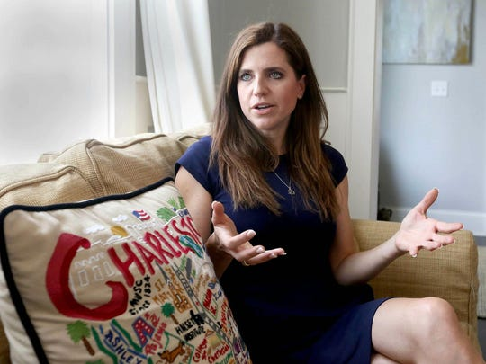 In this May 13, 2019 photo, South Carolina Rep. Nancy Mace discusses being sexually assaulted in Columbia, S.C. For more than two decades, Nancy Mace did not speak publicly about her rape. In April, when she finally broke her silence, she chose the most public of forums, before her colleagues in South Carolina's legislature. (Brad Nettles/The State via AP)