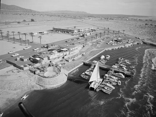 The North Shore yacht club is pictured in this historic aerial photo.