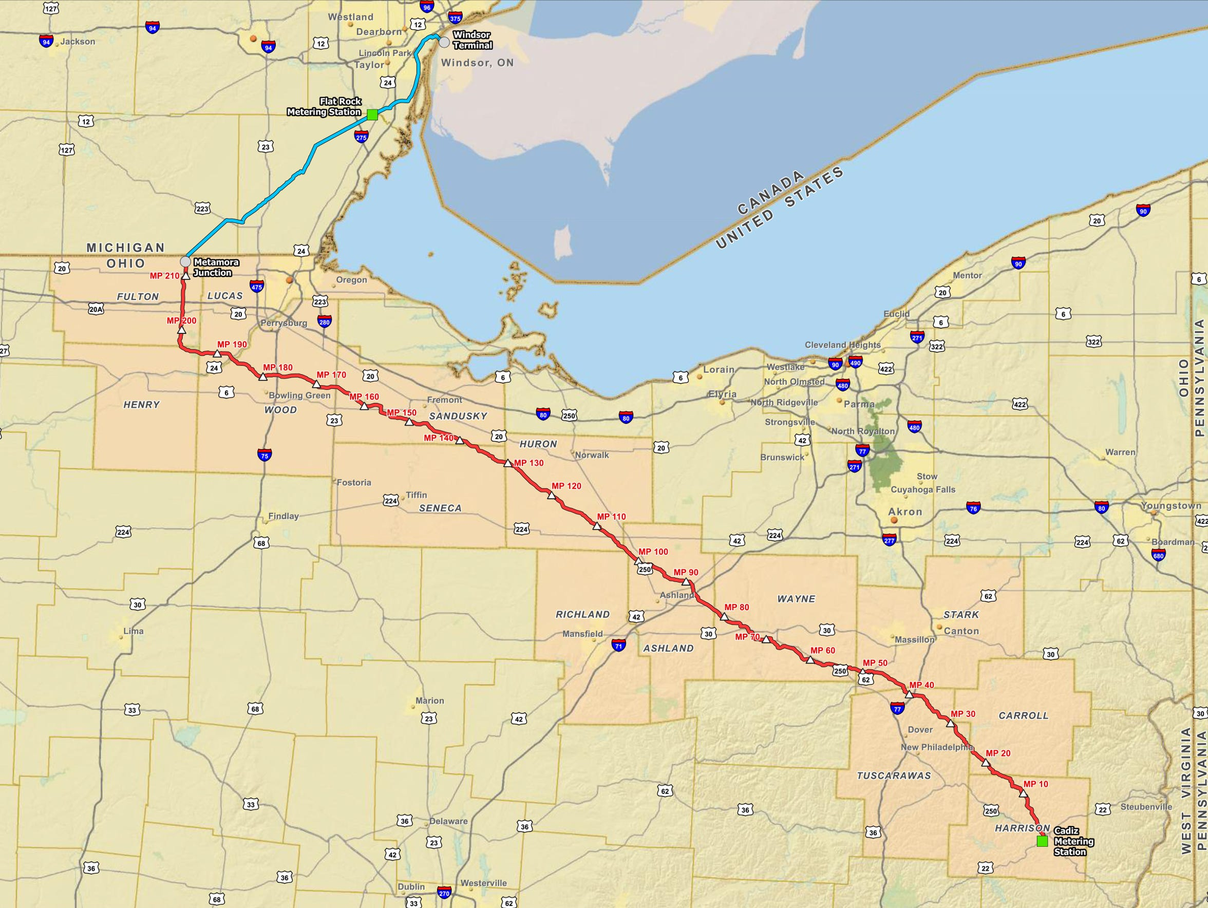 Proposed Utopia Pipeline preliminary overview map provided