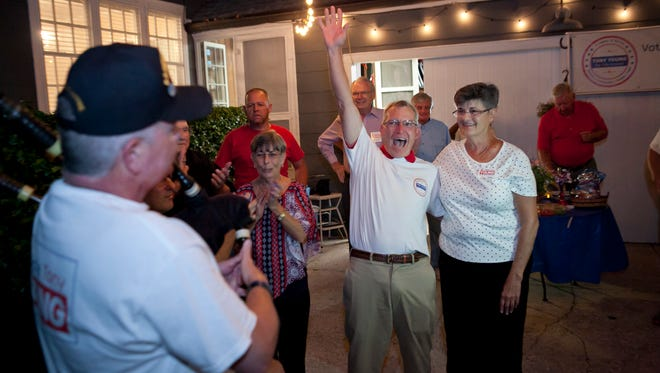 Tony Young (center), and his wife, Sharon (right), celebrate with friends as bagpiper Michael Hyde performs at the Youngs' election party Nov. 8, 2016, at their Vero Beach home. Tony Young finished second in the six-way race for the Vero Beach City Council.