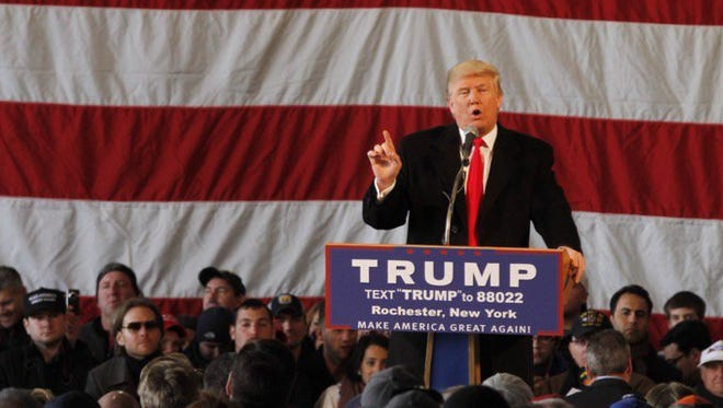 Donald Trump speaks in Rochester in April.