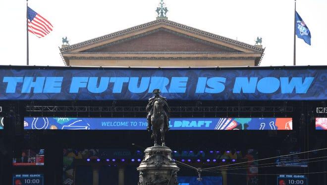 The NFL draft setting in Philadelphia.