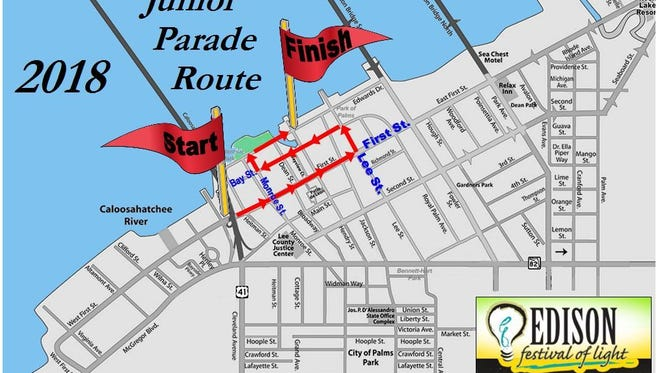 Roads in downtown Fort Myers will be closed beginning noon on Sunday for the Edison Festival of Light Junior Parade.