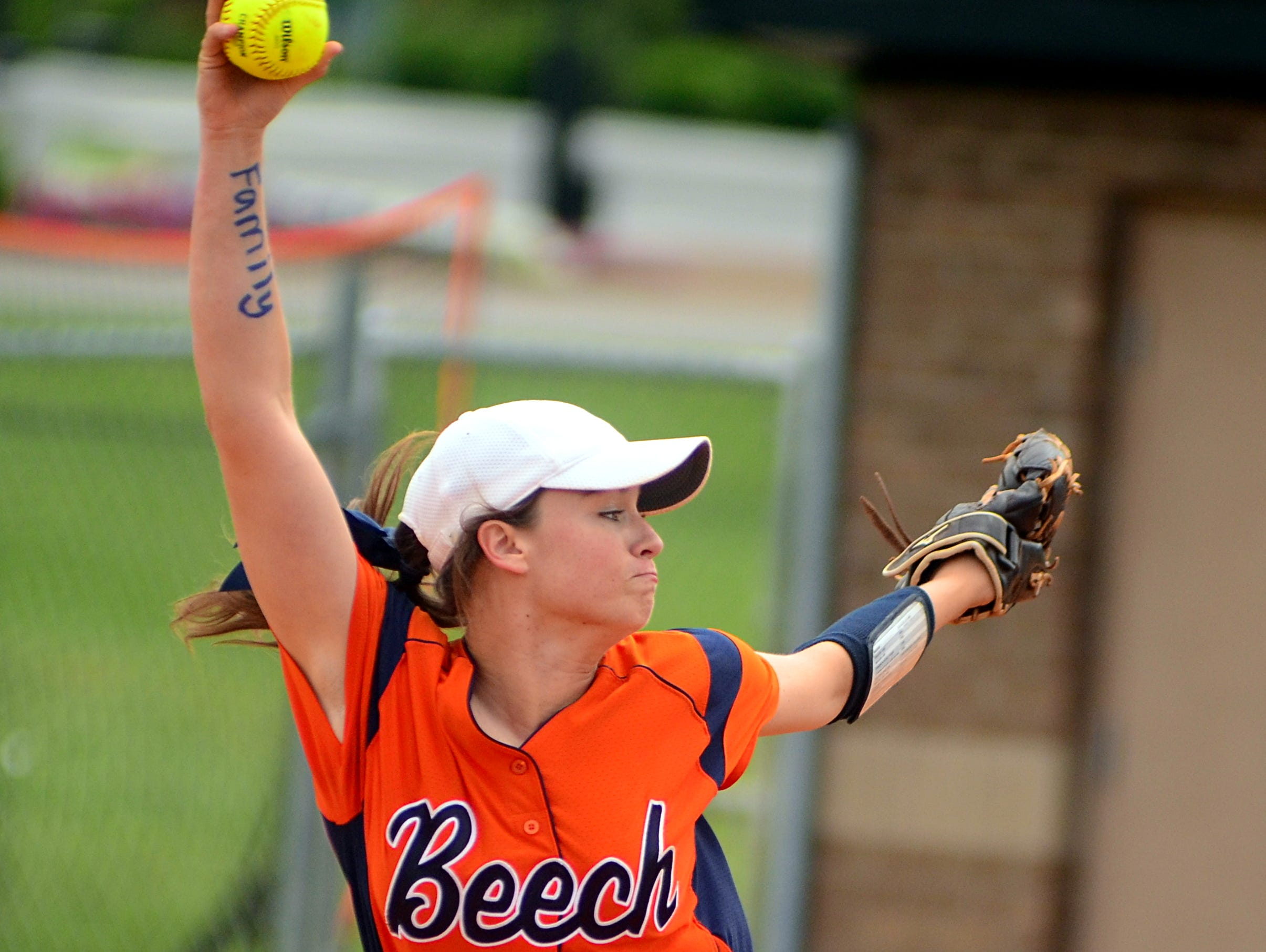 Beech High senior Abbie Vaughn delivers a second-inning pitch during Saturday's 6-3 loss to Wilson Central.