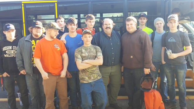 Stayton High School students who attended the annual High School Industrial Skills Contest held March 3 at Linn-Benton Community College: left to right, Zach Briles, Tyler Humphreys, Gage Shaffer, Vance Miller, Casey Walbridge,  Shane McCarty, Logan Claassen, instructor Dale Sunderman, Steven Wavra, Jordan Rada, John Ruef and Taylor Thomas.