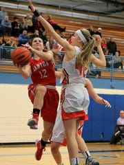 Canton's Madison Archibald (left) takes the ball to