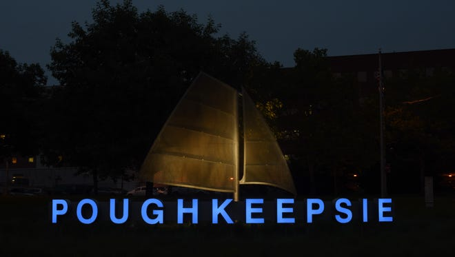 """The """"Poughkeepsie"""" sign located on the Arterial East of the Mid-Hudson Bridge on Thursday night."""