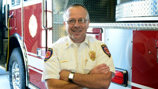 Fremont Fire Chief David Foos at the fire station on State Street.
