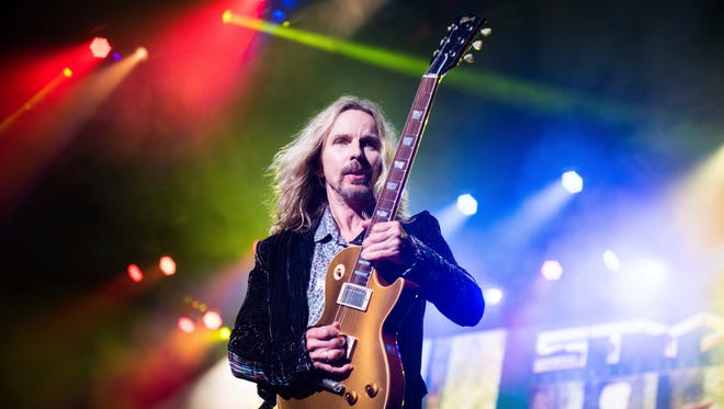 Tommy Shaw, of Styx, performs on stage at Verizon Wireless Amphitheater on Saturday, June 16, 2018, in Alpharetta, Ga. (Photo by Paul R. Giunta/Invision/AP) ORG XMIT: PRG003