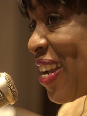 """Mildred Gaddis talks to her listening audience on """"Inside Detroit"""" in this 2004 file photo."""