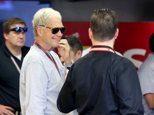 Team co-owner David Letterman in his garage area before the 99th running of the Indianapolis 500 Sunday May 24, 2015.