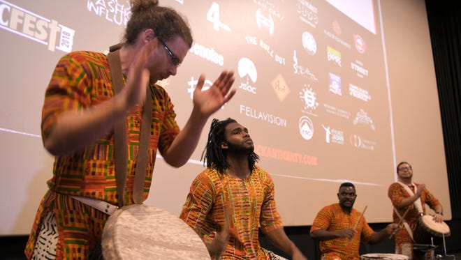 """African drummers from the Global Education Center provide entertainment before the premiere showing of the """"Black Panther"""" movie Thursday, Feb 15, 2018 at Regal Opry Mills in Nashville, Tenn. Event was sponsored by Black Antiquity of Nashville for Black History Month."""