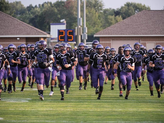 Lakeview takes the field before the start of game against Portage Central Friday evening.