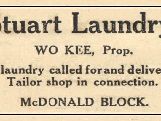 Advertisement for Wo Kee Laundry in Stuart in 1917