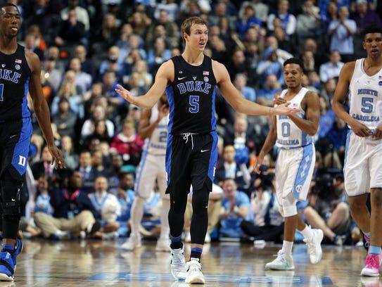 Duke Blue Devils guard Luke Kennard (5) reacts during