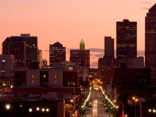 Des Moines at sunset