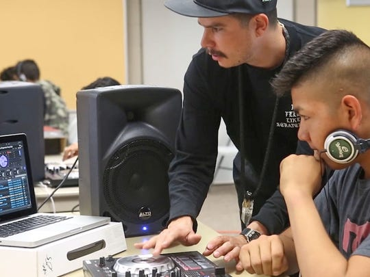 Rafael Lopez (aka Alf Alpha) teaches a class on DJ'ing at Desert Hot Springs High School, February 20, 2017.