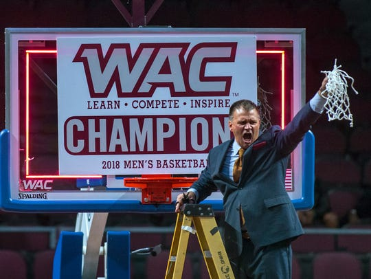 Chris Jans and the New Mexico State men's basketball team look for the school's eighth WAC Tournament championship this week in Las Vegas.