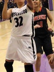 Mescalero's Katelyn Yuzos attempts a layup.
