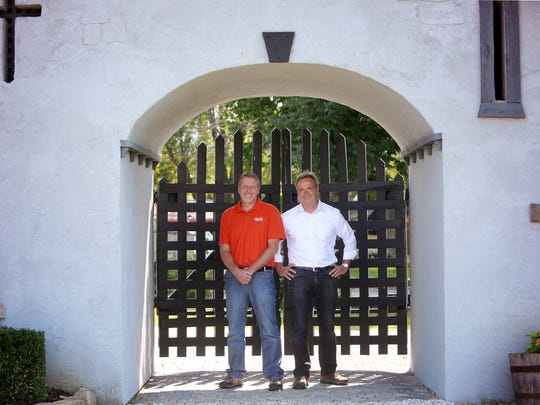 Chuck Biehn and Dave Ashcraft, owners of the Ohio Renaissance Festival, met on the tennis court.
