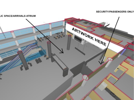 A diagram of where artwork will be placed in the East