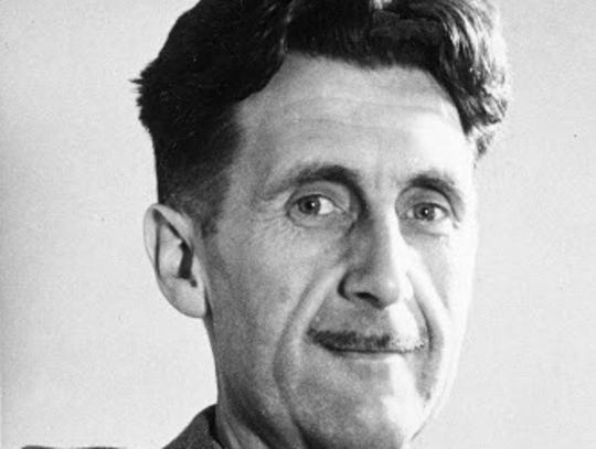 This undated file photo shows writer George Orwell,