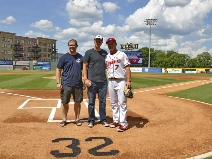 The Greenville Drive retired #32, which was slain Greenville